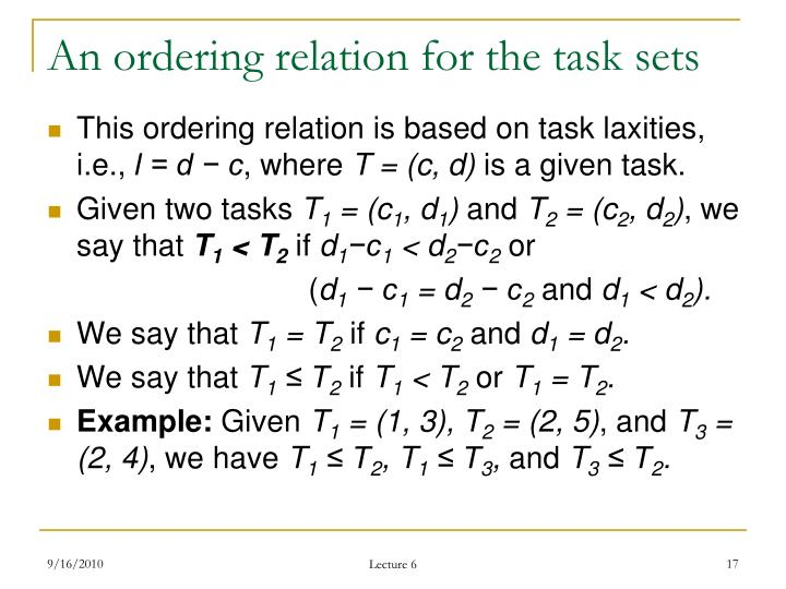 An ordering relation for the task sets