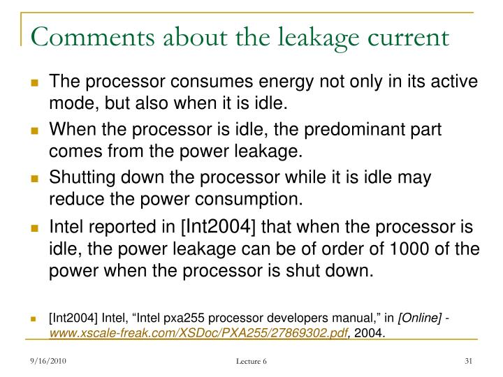 Comments about the leakage current