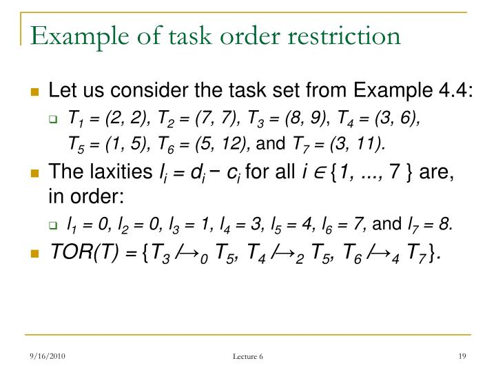 Example of task order restriction