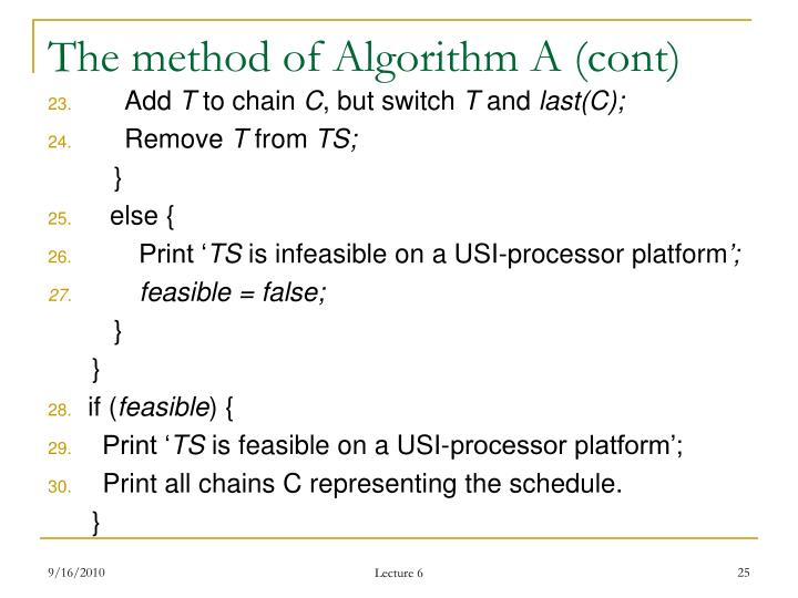 The method of Algorithm A (cont)