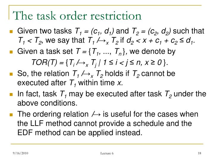 The task order restriction