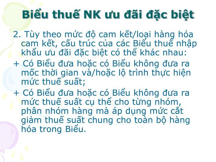 Biểu thuế NK ưu đãi đặc biệt
