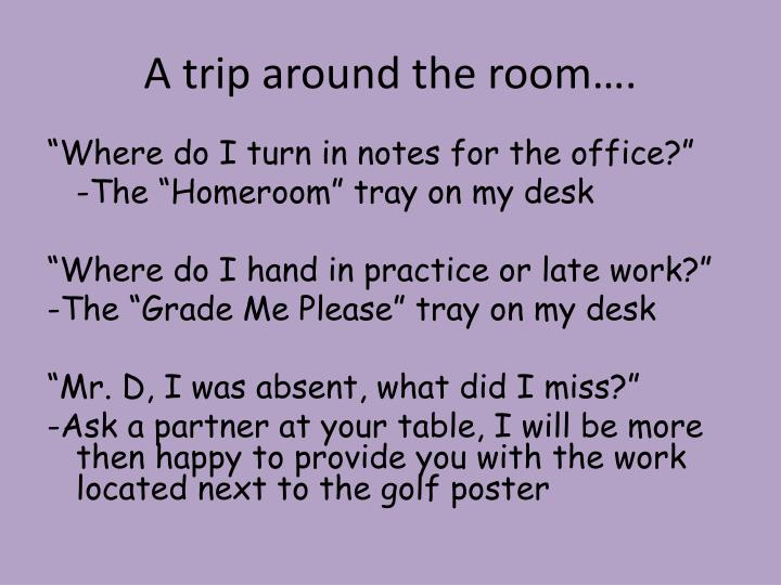 A trip around the room….
