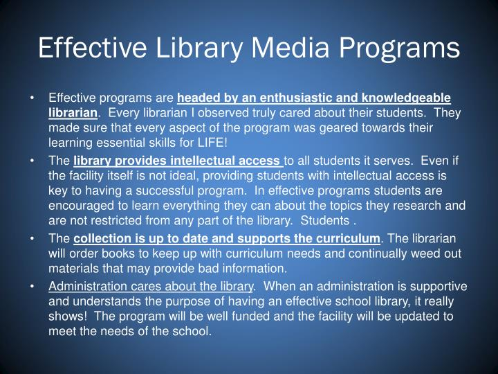 Effective Library Media Programs
