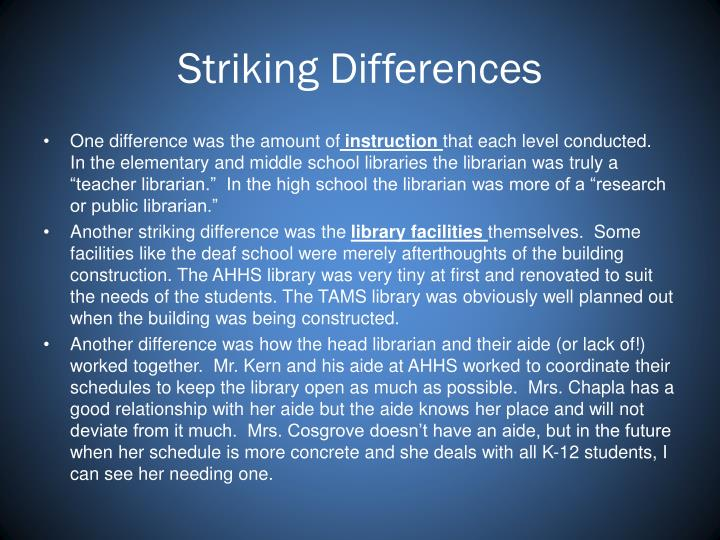 Striking Differences