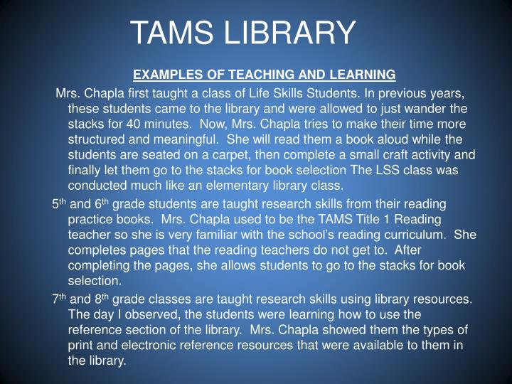 TAMS LIBRARY