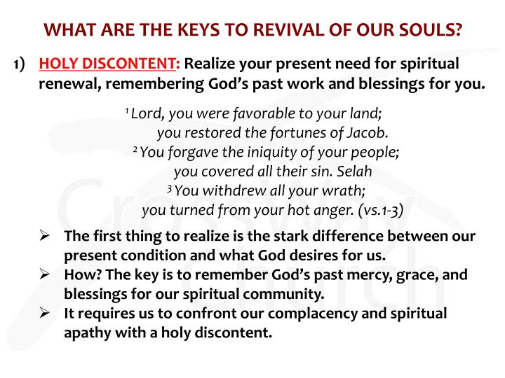WHAT ARE THE KEYS TO REVIVAL OF OUR SOULS?