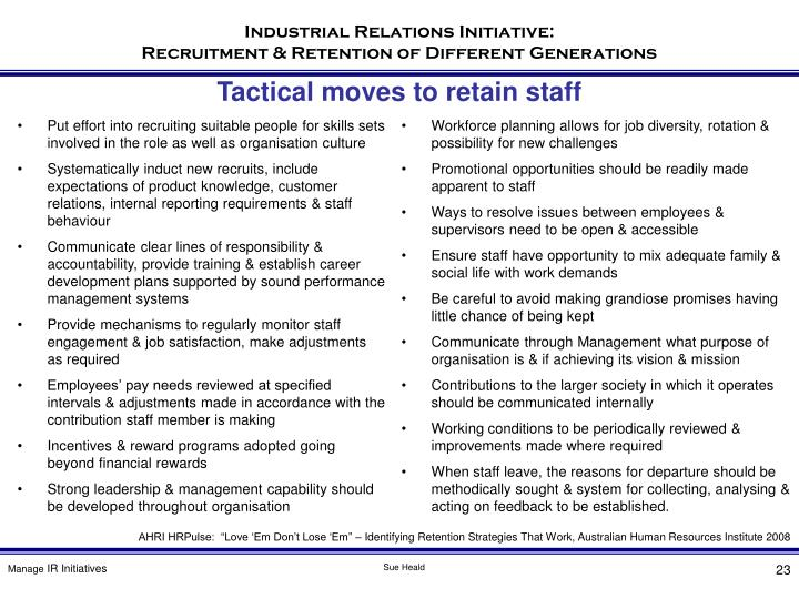 Tactical moves to retain staff