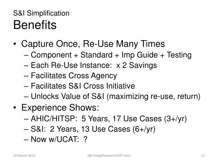 S&I Simplification
