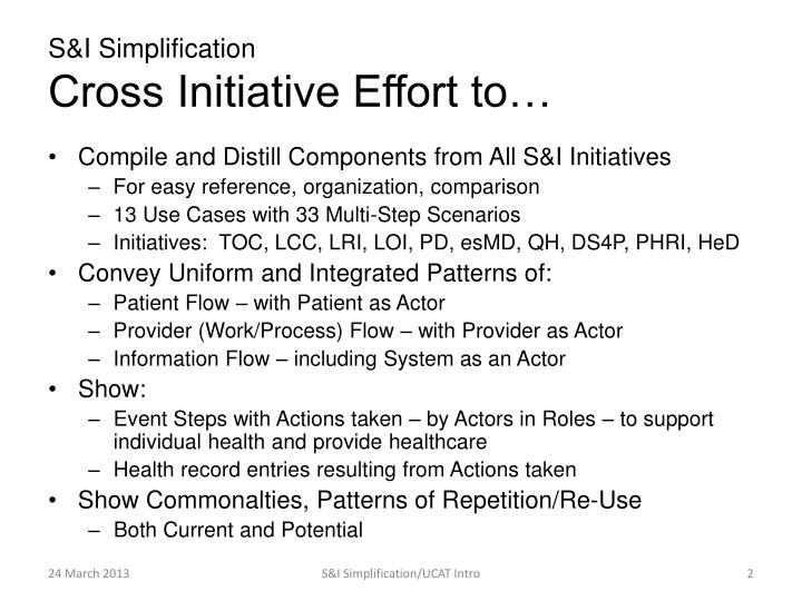 S i simplification cross initiative effort to