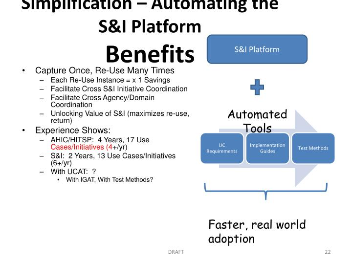 Simplification – Automating the S&I Platform