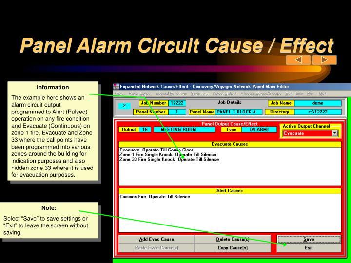 Panel Alarm Circuit Cause / Effect