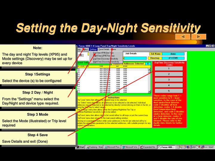 Setting the Day-Night Sensitivity
