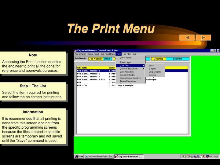 The Print Menu
