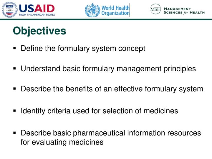 Define the formulary system concept