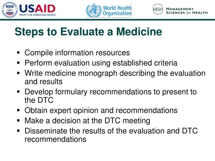 Steps to Evaluate a Medicine