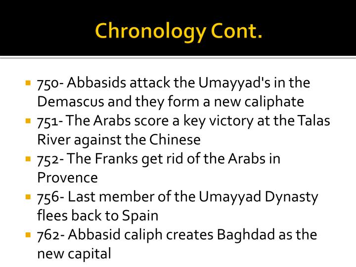 Chronology Cont.