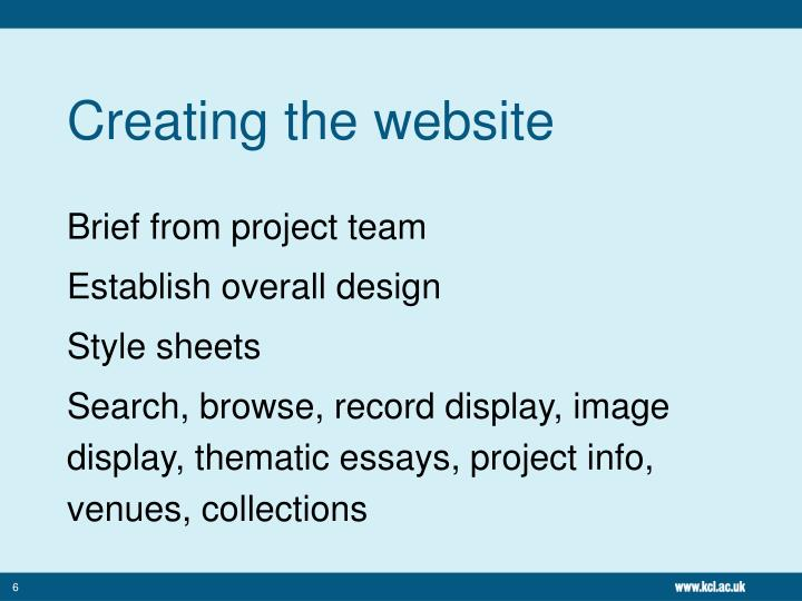 Creating the website
