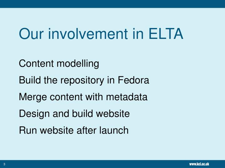 Our involvement in ELTA