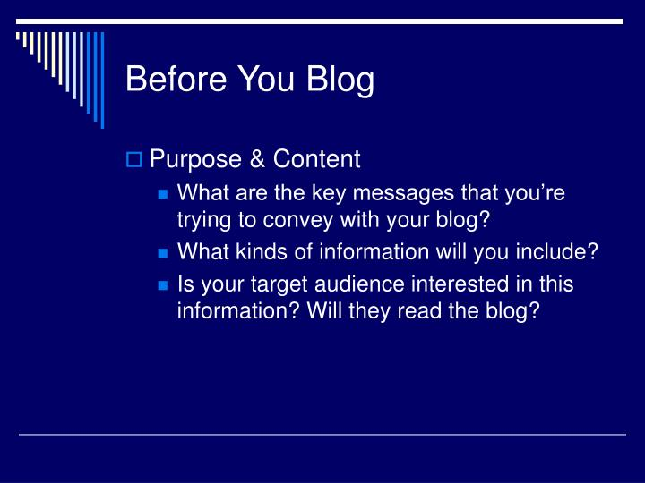 Before You Blog