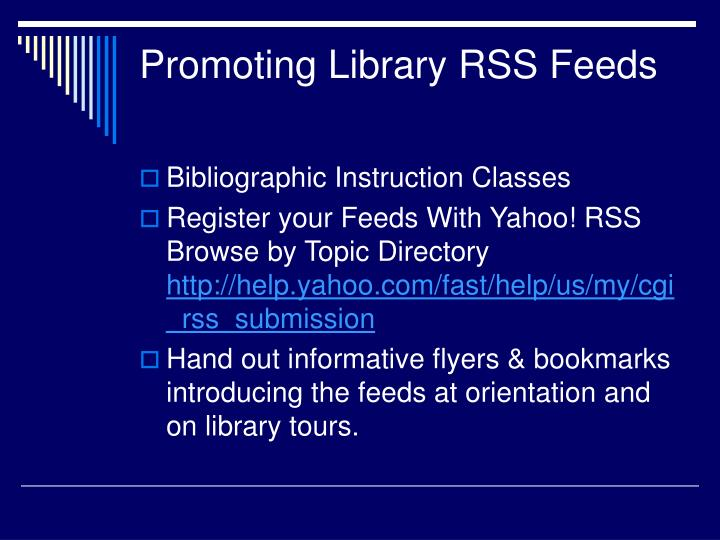 Promoting Library RSS Feeds