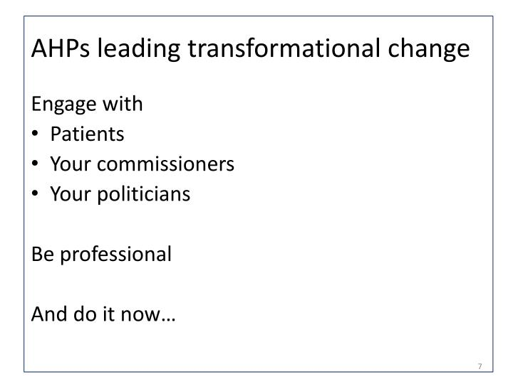 AHPs leading transformational change