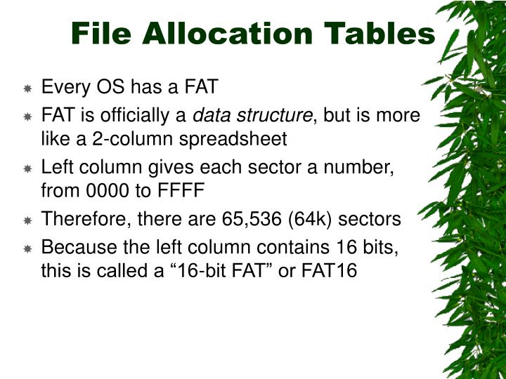 File Allocation Tables