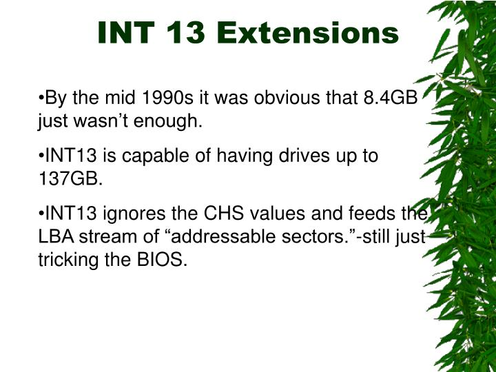 INT 13 Extensions
