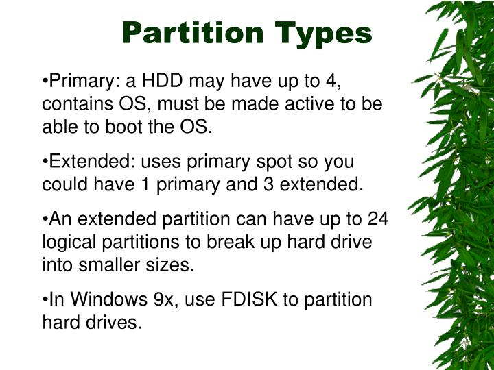 Partition Types