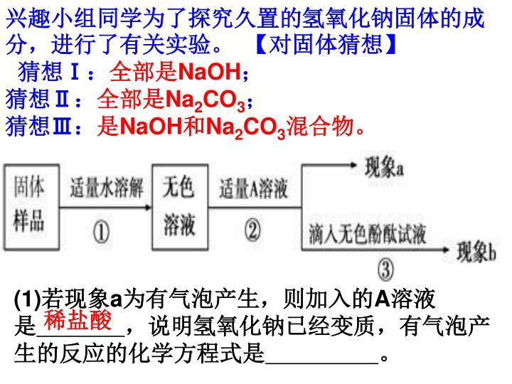 兴趣小组同学为了探究久置的氢氧化钠固体的成分,进行了有关实验。