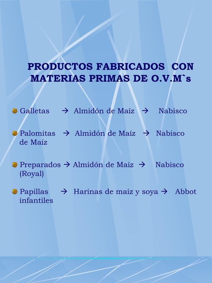 PRODUCTOS FABRICADOS  CON MATERIAS PRIMAS DE O.V.M`s