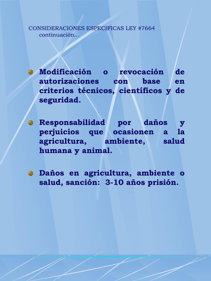 CONSIDERACIONES ESPECIFICAS