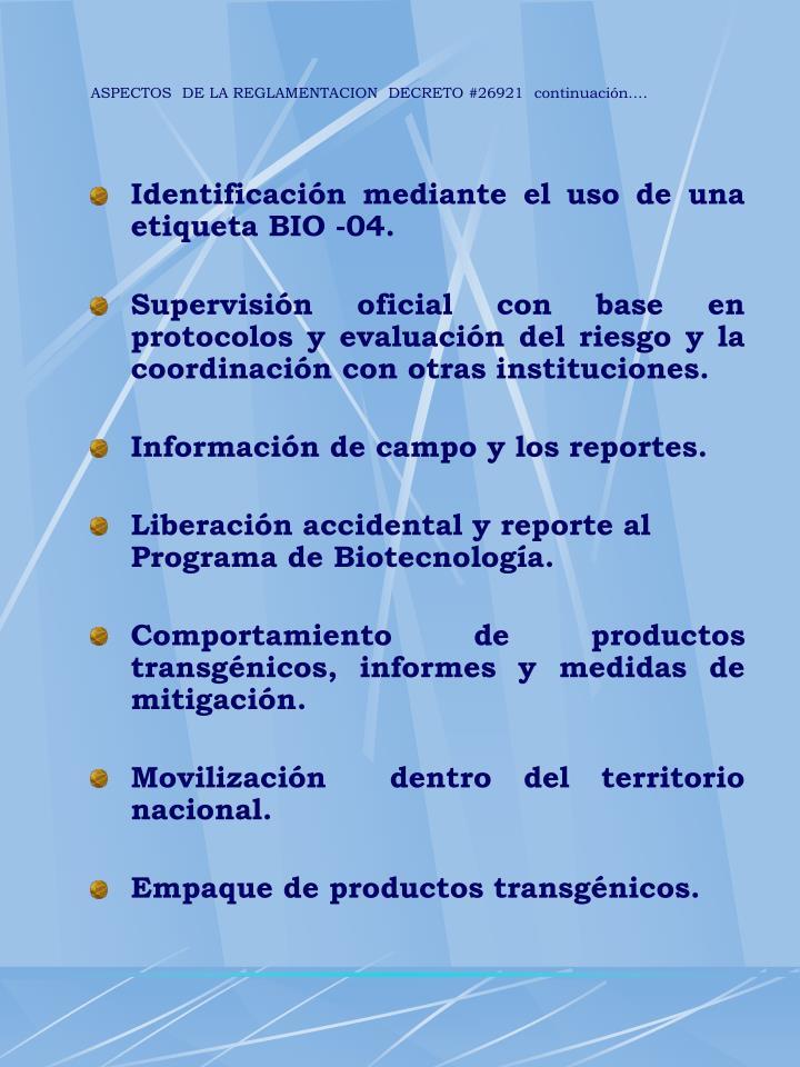 ASPECTOS  DE LA REGLAMENTACION  DECRETO #26921