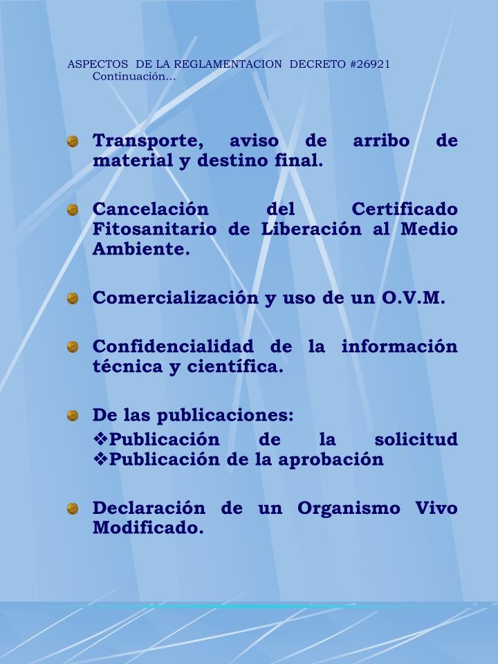 ASPECTOS  DE LA REGLAMENTACION  DECRETO