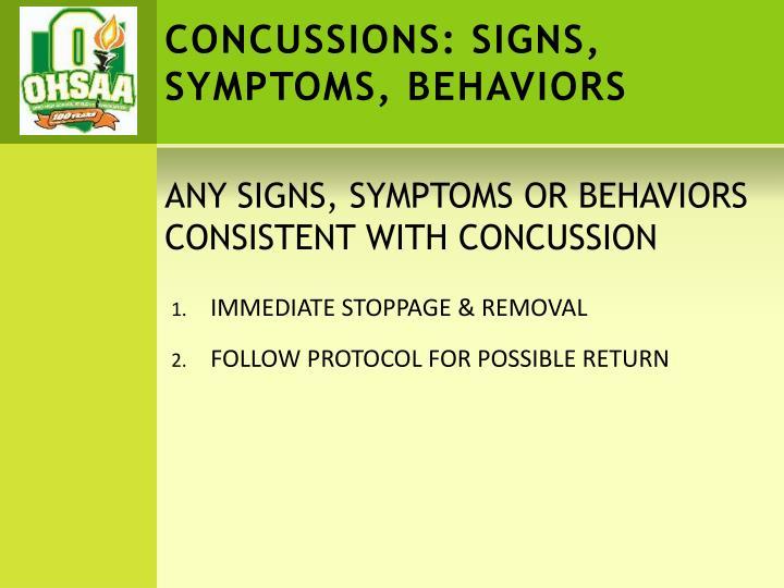 CONCUSSIONS: SIGNS,    SYMPTOMS, BEHAVIORS