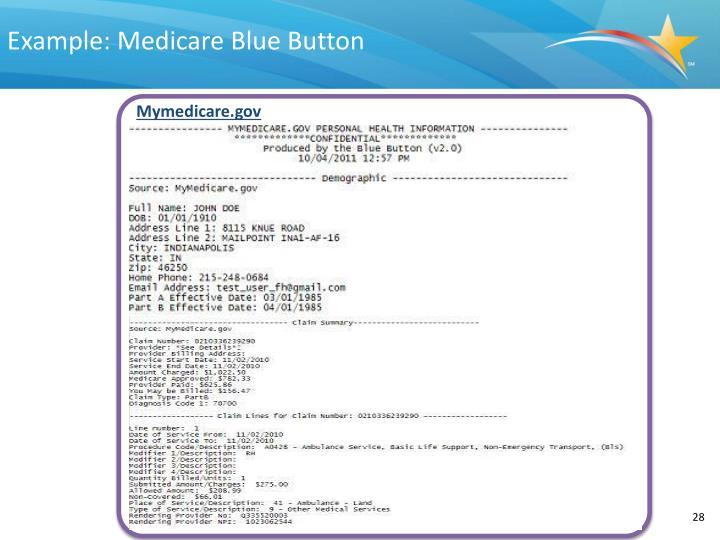 Example: Medicare Blue Button