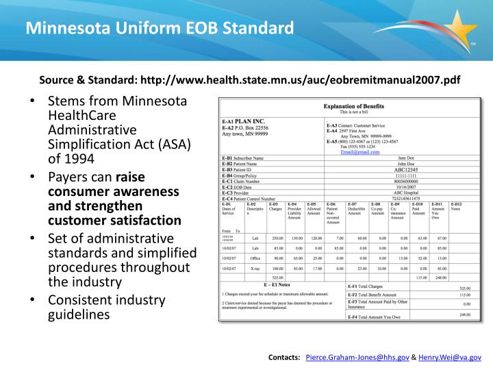 Minnesota Uniform EOB Standard