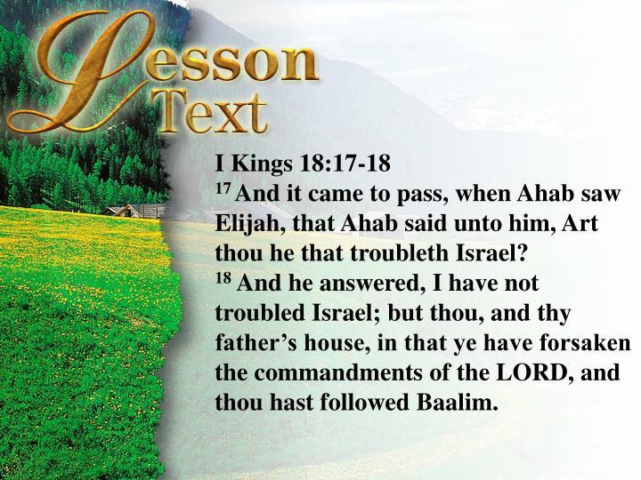 I Kings 18:17-19