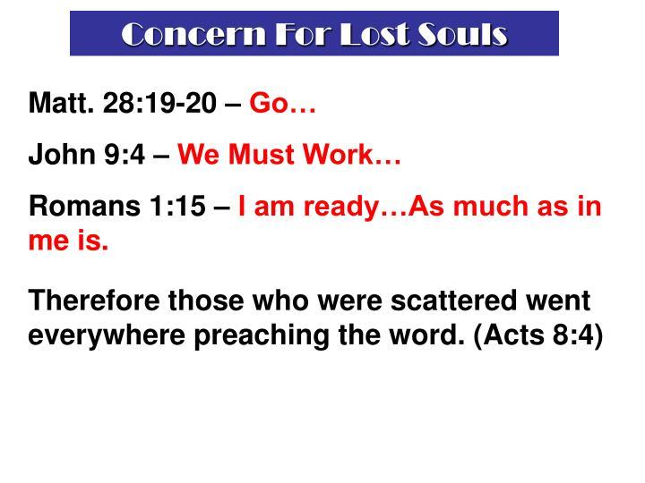 Concern For Lost Souls