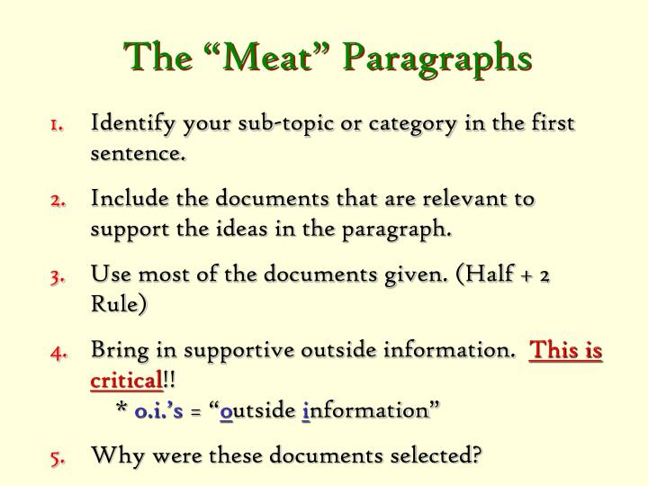"The ""Meat"" Paragraphs"