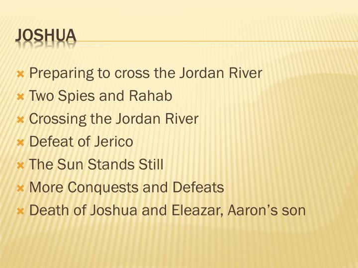 Preparing to cross the Jordan River