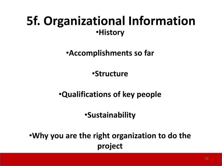 5f. Organizational Information