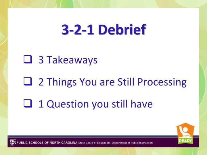 3-2-1 Debrief