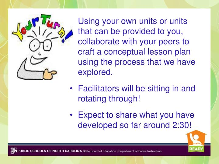 Using your own units or units that can be provided to you, collaborate with your peers to craft a conceptual lesson plan using the process that we have explored.