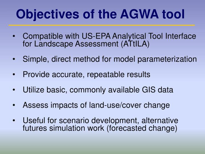 Objectives of the AGWA tool