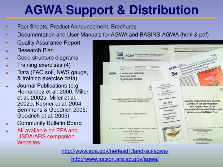 AGWA Support & Distribution