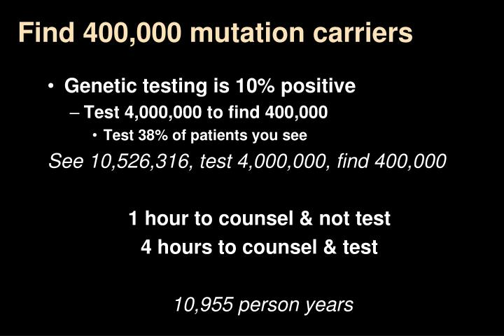 Find 400,000 mutation carriers