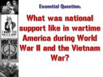 what was national support like in wartime america during world war ii and the vietnam war