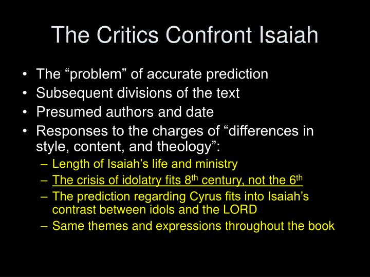 The Critics Confront Isaiah