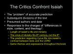 the critics confront isaiah
